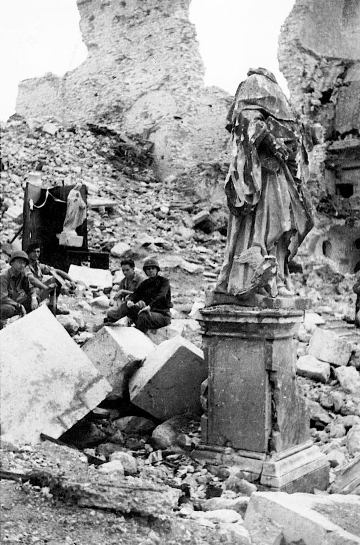 Monte Cassino, show nearly completely destroyed from Allied bombing.