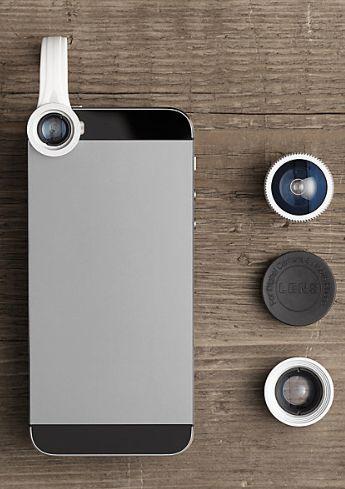 Tech Gifts for Men / Guys / Him / Husband / Boyfriend / Dad Under $50:  Mini Photo Pro Lens Kit for iPhone Smart Phone @ Restoration Hardware