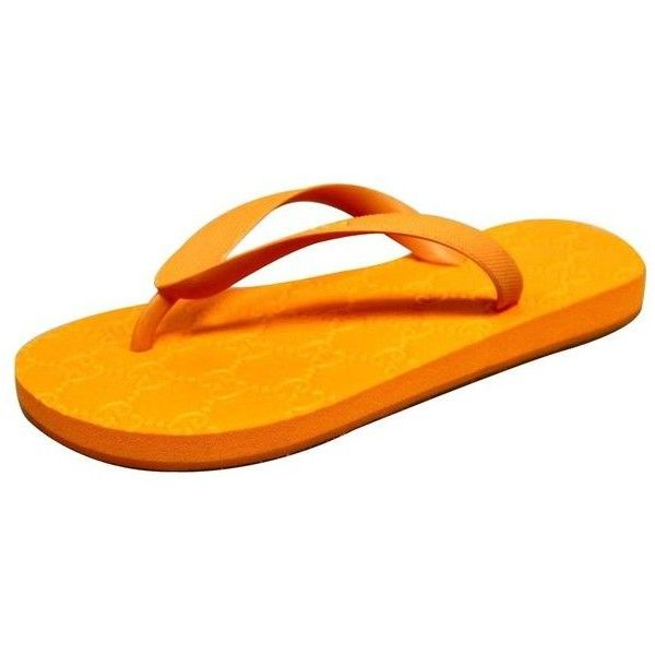 Pre-Owned  Gucci Women's Orange Guccissima Rubber Thong Flip Flop... (13,350 INR) ❤ liked on Polyvore featuring shoes, sandals, flip flops, orange, pre owned shoes, orange sandals, gucci footwear and flip-flop sandals