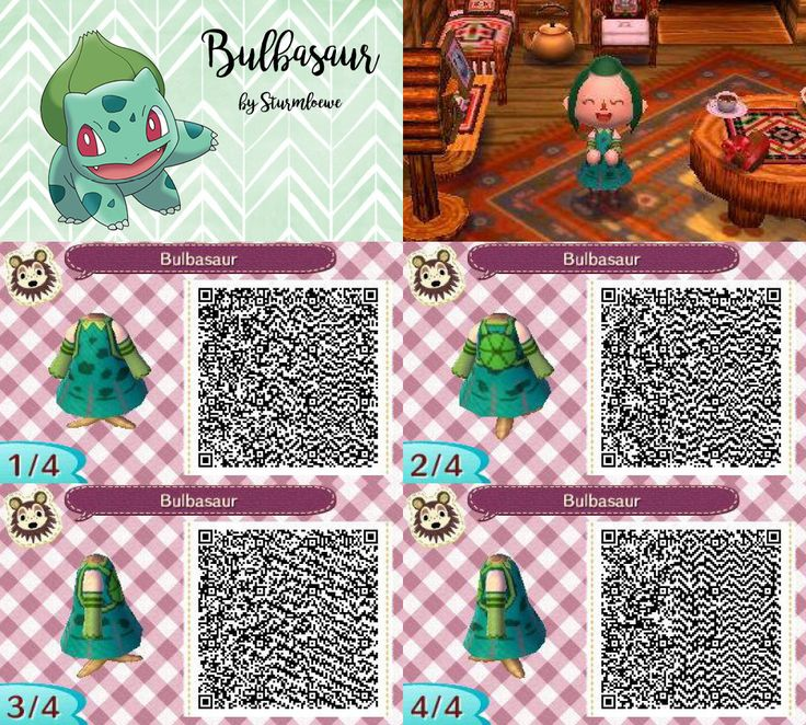 Animal Crossing New Leaf qr code cute bulbasaur bisasam dress outfit green plant pokemon crossover acnl design by sturmloewe