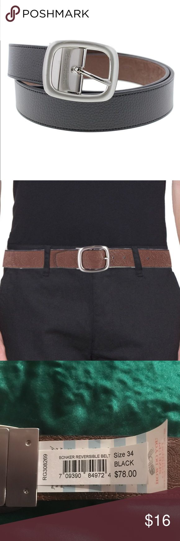 🆕 Robert Graham 💥 Bonker Reversible Belt 💥 Enjoy the versatility of the Robert Graham belt with its reversible textured black and embossed brown. This item is make from simulated Leather and has a nice heavy buckle with Robert Graham's Signature. 💖Thank you for visiting my closet 💥   🛍 Bundle and save 20%!! 🚭This item comes from a smoke- free home 🦔 This item comes from a pet- free home 🤔  Please feel free to contact me with questions 🤗 ❤️💙💜 Happy Poshing 💜💙❤️ Robert Graham…