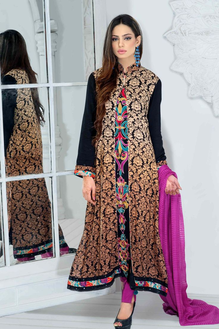 A wonderful combination of colours in new jacket style long kameez with pyjama