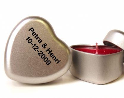 Hartblikje met kaarsje zilver met opdruk op deksel