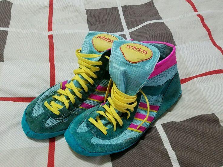 Adidas Teal 88 West German Combat Speeds Rare Wrestling Shoes Restored Size  8