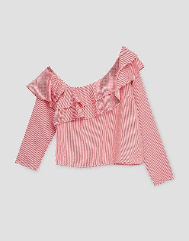 Camisa volantes estampado rayas - Blusas y camisas - Ropa - Mujer - PULL&BEAR España