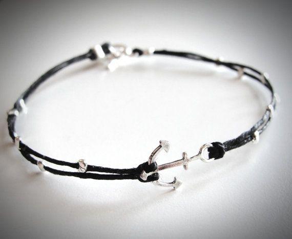 Tiny Sterling Anchor bracelet on linen by JewelryByMaeBee on Etsy.