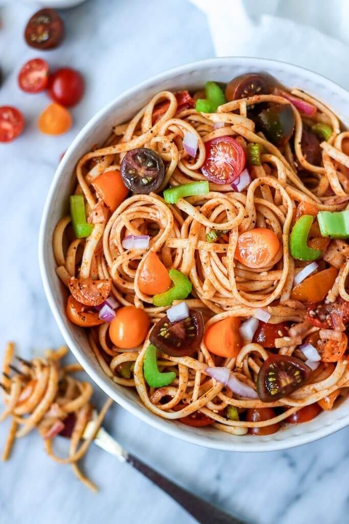 Vegan Healthy Linguine Pasta Salad