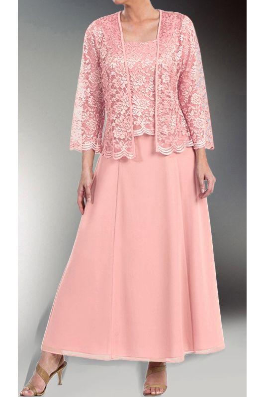 9587041e045 Růžové dlouhé společenské šaty s krajkovým kabátkem