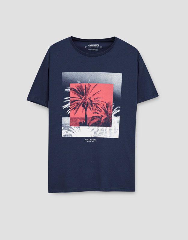 T-shirt com estampado fotográfico - Blusas - Vestuário - Homem - PULL&BEAR Portugal