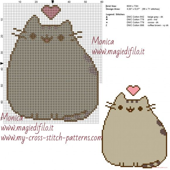 Pusheen Knitting Pattern : Pusheen cross stitch pattern Perler beads/ Cross stitch ...