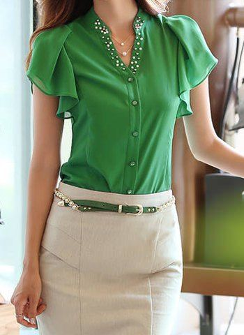 Elegant V-Neck Beaded Ruffled Short Sleeve Chiffon Blouse For Women