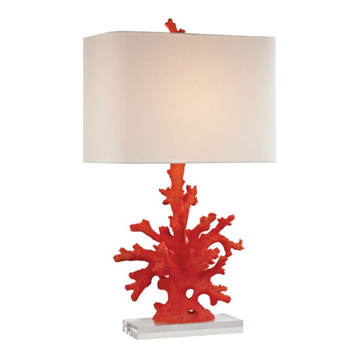 This gorgeous sculptured lamp of a faux red coral branch looks like it could have just washed up on a tropical shore!