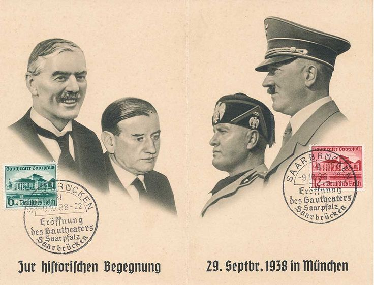 "This is a postcard commemorating the Munich Agreement, a settlement permitting Nazi Germany's annexation of portions of Czechoslovakia along the country's borders mainly inhabited by German speakers, for which a new territorial designation, ""Sudetenland"", was coined. The agreement was signed in the early hours of September 30, 1938 (but dated September 29). Its announcement by British Prime Minister Neville Chamberlain became an icon of ""appeasement""."