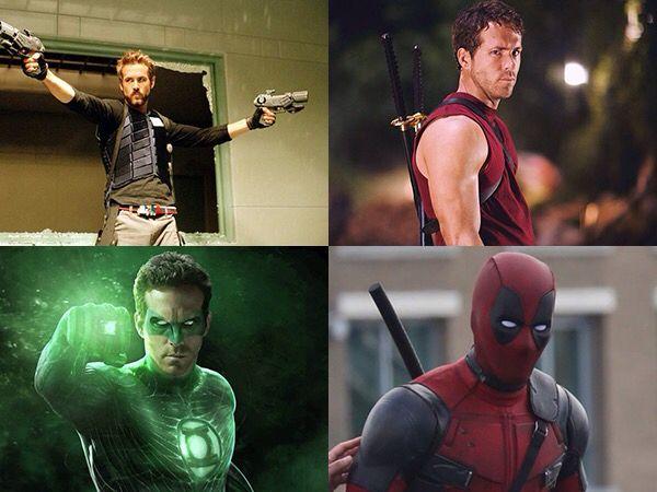 Ryan Reynolds - Hannibal King (Blade: Trinity, 2004), Wade Wilson (X-Men Origins: Wolverine, 2009), Green Lantern (Green Lantern, 2011), Deadpool (Deadpool, 2016)