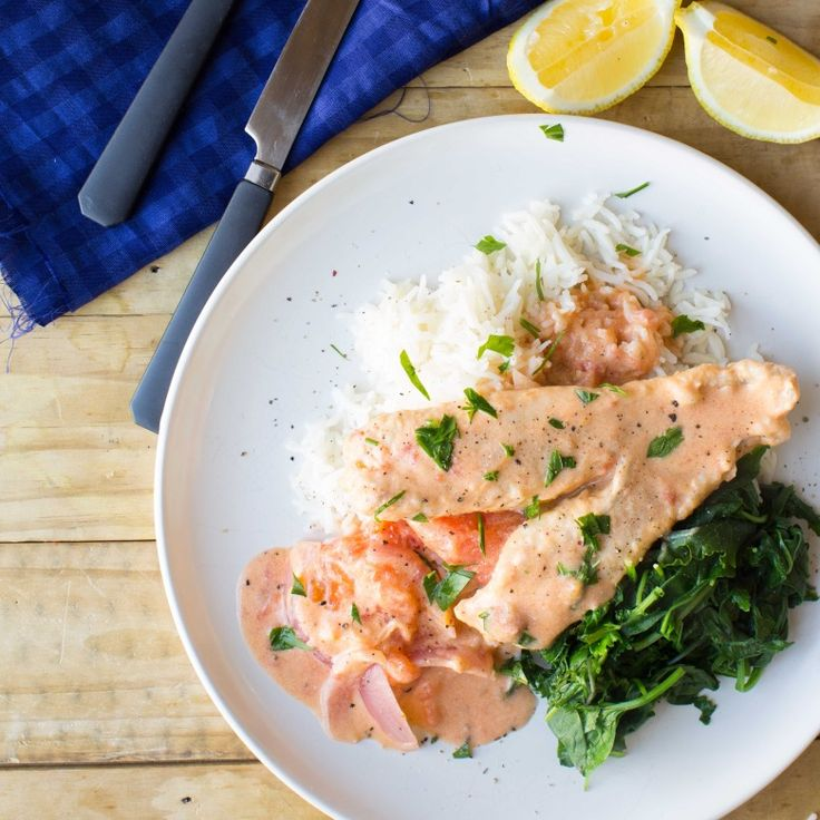 Fijian Coconut Fish with Tomato, Spinach and Rice