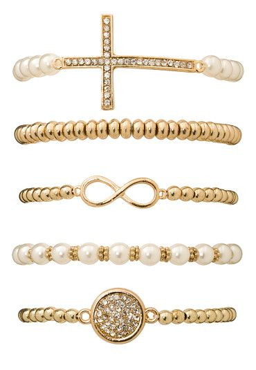 Faux pearl and embellished cross bracelet set (original price, $14) available at #Maurices