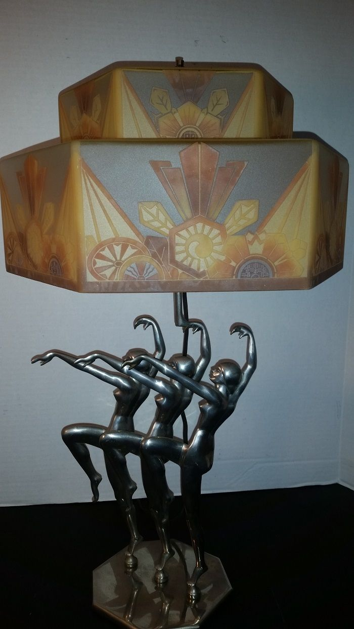 This american art nouveau table lamp is no longer available - Antique Art Deco Lamp 1929 Czechoslovakian Shade