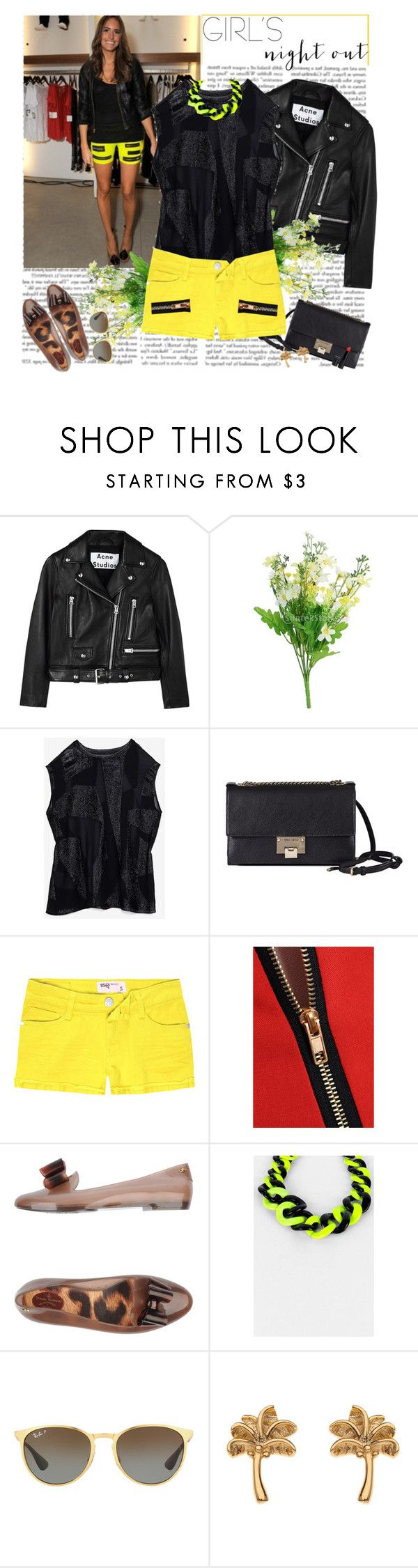 """night out summer edition"" by helena99 ❤ liked on Polyvore featuring Acne Studios, Helmut Lang, Jimmy Choo, RSQ, Vivienne Westwood Anglomania + Melissa, Ray-Ban, Topshop, New Look, shorts and flats"