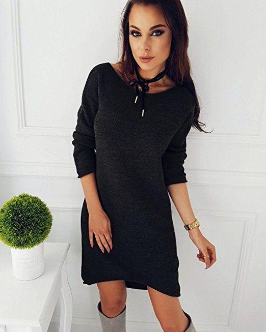 Minetom Damen Pullover Kleider Winterkleider Kleid ...