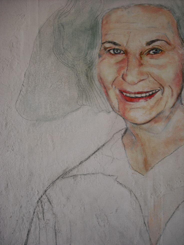 """Retrato de """"Teresa Aparici Moreno"""" por Inma Pascual Aparici ,Técnica mixta óleo sobre tabla"""