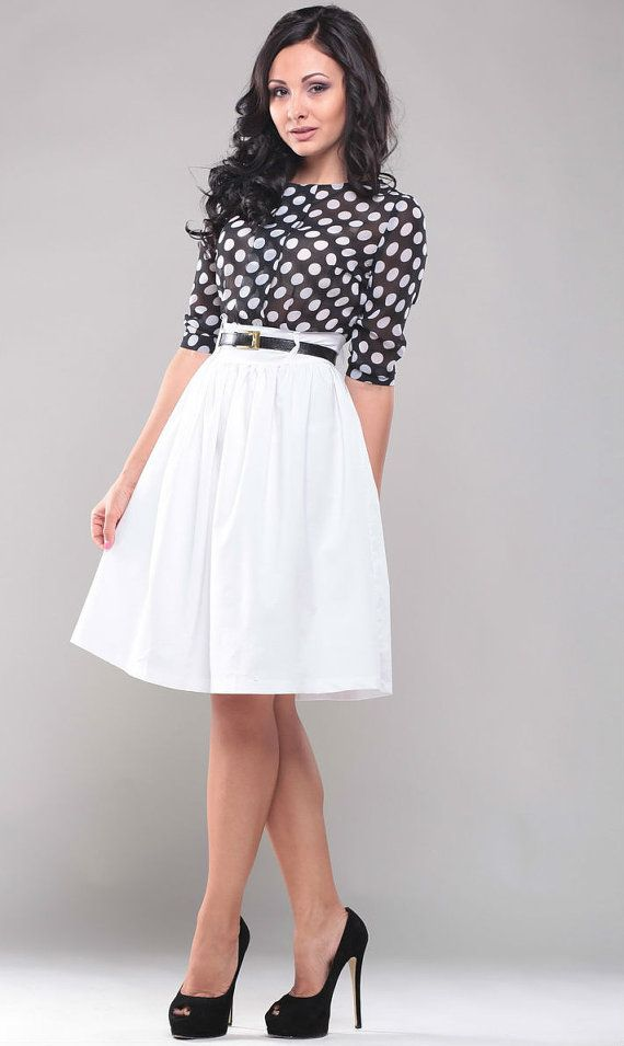 White dress. Combined dress. Contrast dress. Polka by Annaclothing