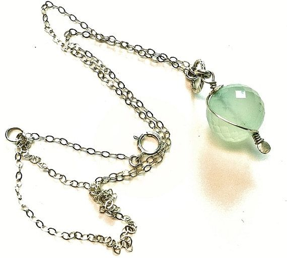 Natural #chalcedony #sterling silver #necklace #pendant with by Emmalishop