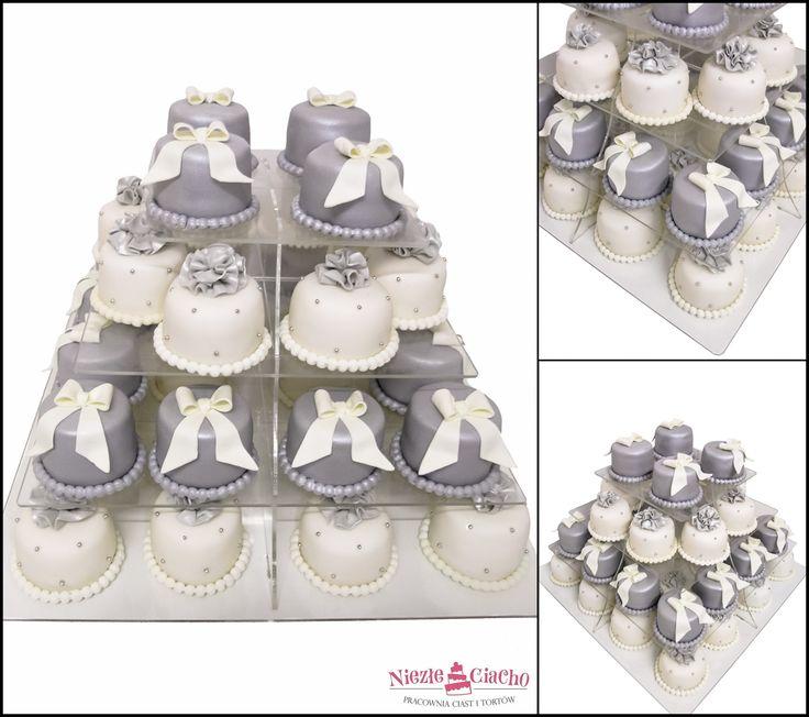 Biało-szare mini cakes, słodki stół, event, wesele, przyjęcie, Tarnów