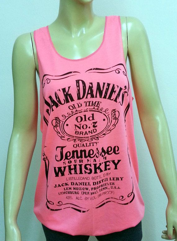 Dq103 Jack Daniel's Tennessee Whiskey Old Time No.7 Jack Daniels T-Shirt Women shirt Tank Top Rock Punk sleeveless Pink Black White Size M L on Etsy, $12.00