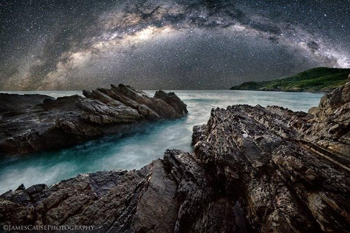 The Milky Way rises above the ocean, shot from Forster, NSW in Australia.