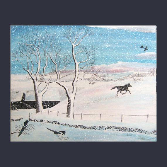 Snow Dreams. Original painting. 50x40cms by bitsanbobsanbags