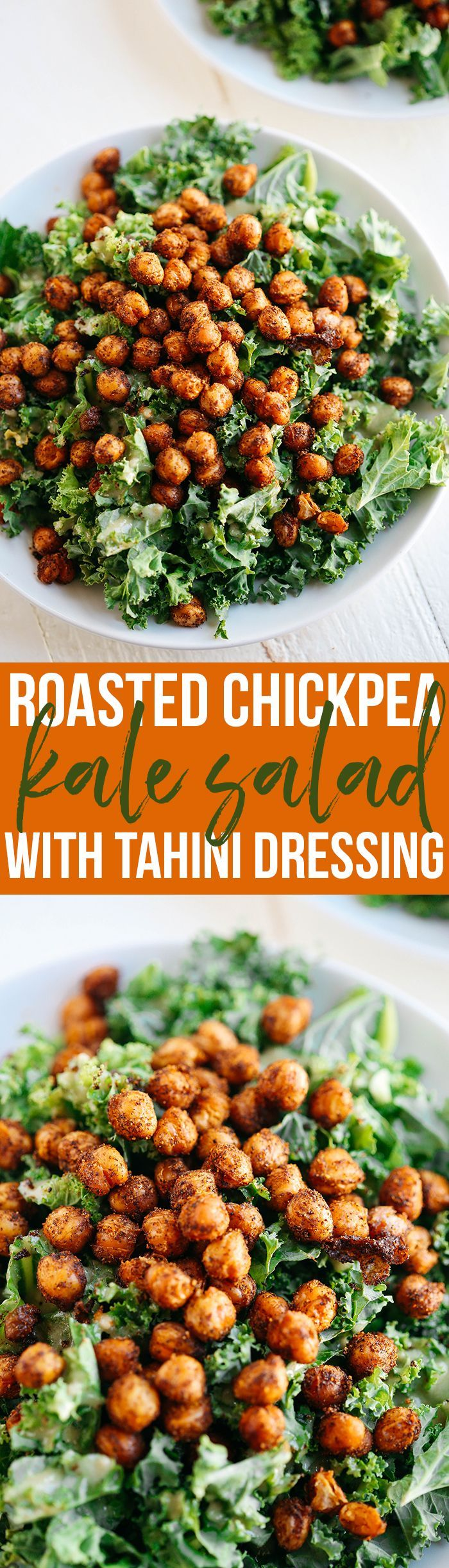 This Roasted Chickpea and Kale Salad with delicious creamy tahini dressing is hearty, healthy and full of so much flavor.