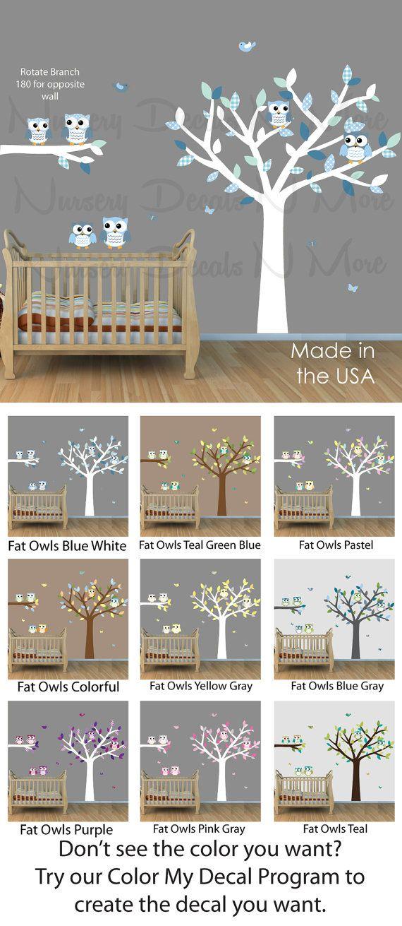 Stickers arbre garçon avec la chouette, hibou autocollants, Stickers muraux d'arbres (6 gros hibou arbre bleu blanc)