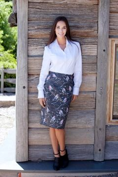 that bird label -  Piper Pencil Skirt - Winter Perch bird print - Womens Skirts - Birdsnest Online Store