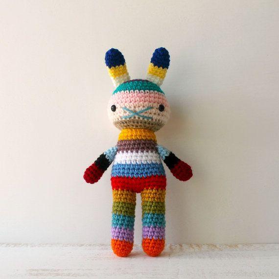 children rabbit toy crochet amigurumi doll bright by rosieok, $35.00