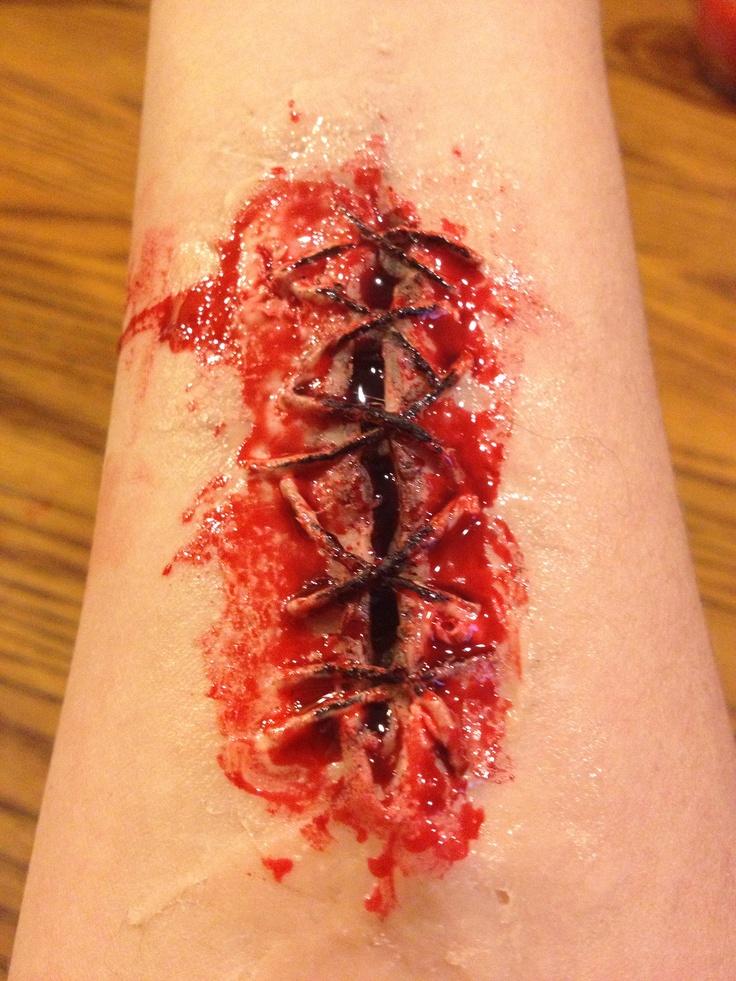 Fake stitches and wound fx Eli Dale (age 9)