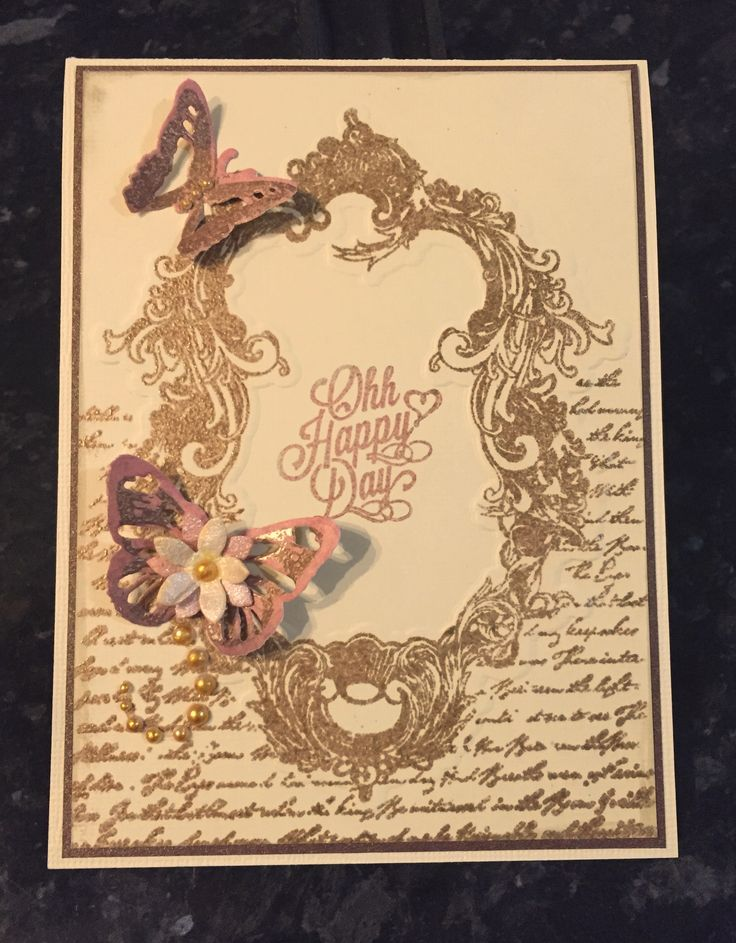 Using Couture Creations Ornate Frame embossing folder & Butterflies dies