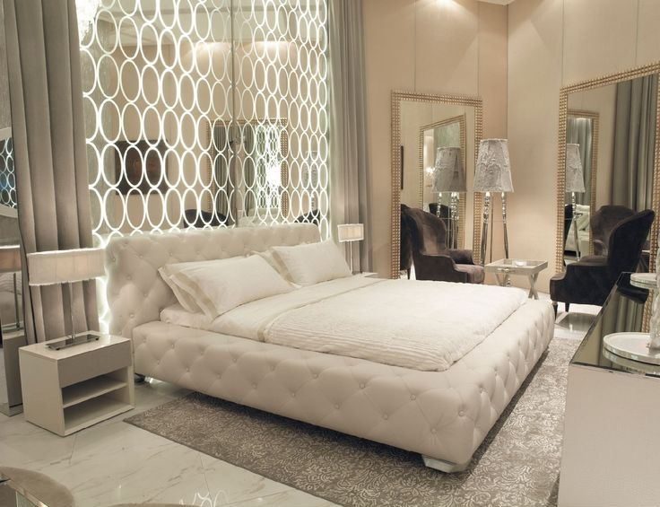 Art Deco Master Bedroom with simple marble tile floors, High ceiling