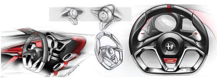 Alfa romeo 4c steering wheel design sketch interior for Benetton 4 wheel steering