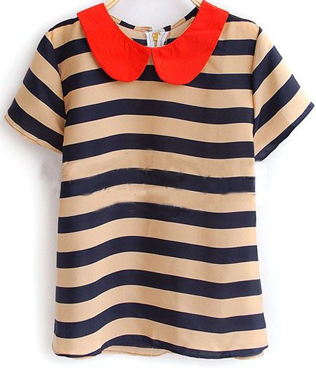 Navy Beige Stripe Peter Pan Collar Short Sleeve Zip Back Blouse