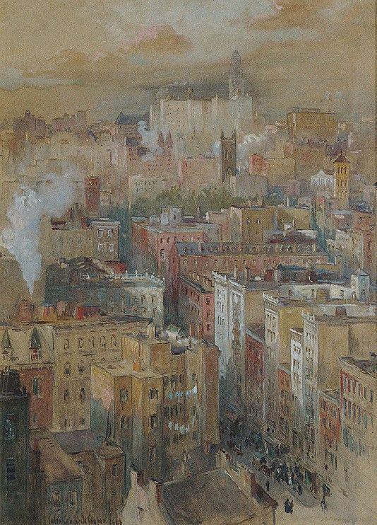 Colin Campbell Cooper (American, 1856–1937) View of New York City. The Metropolitan Museum of Art, New York. Gift of Margaret and Raymond J. Horowitz, 1983 (1983.531) #newyork #nyc