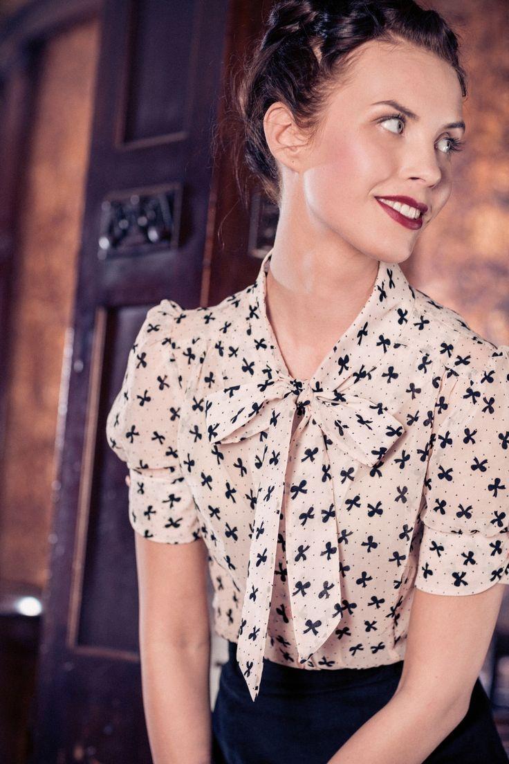 Emmy - Emmy - The sassy Pink Black Bows secretary blouse