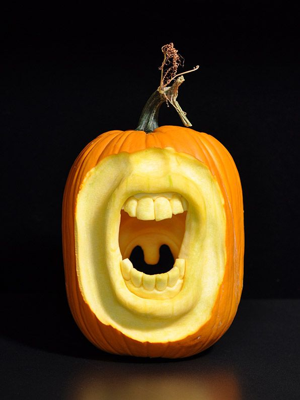 """The opposite side of this pumpkin was cut to create the uvula. It looks cool from the front, but it looks really weird from the back."" -Scott Cummins"