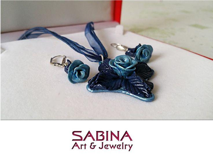 Set fimo - trandafiri albastri (modelate manual)