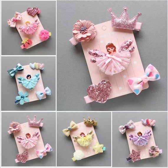 Baby Girls Princess Barrettes Hairpins Cartoon Headwear Kids Hair Clips,5pcs//set