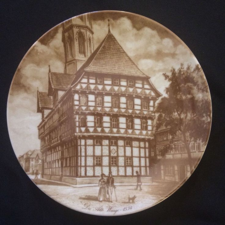 """Vintage Collector Plate A K Kaiser """"Die Alte Waage 1534"""" - W Germany Brown White by TippyGabor on Etsy"""