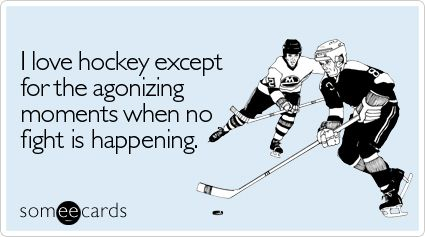 I love hockey except for the agonizing moments when no fight is happening.