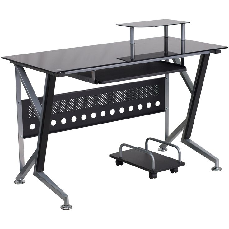 Flash Furniture Black Glass Computer Desk with Pull-Out Keyboard Tray and CPU Cart - NAN-WK-059-GG
