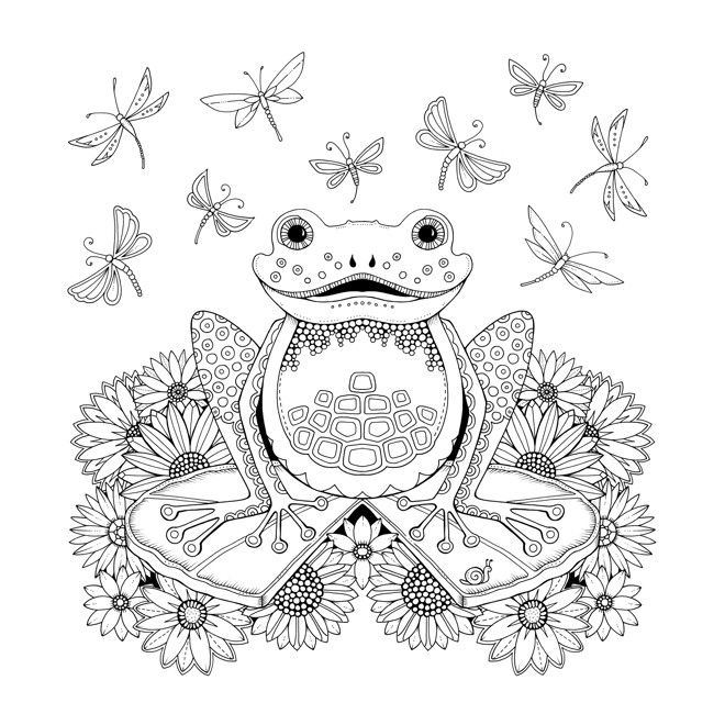 Frog Artist Johanna Basford Enchanted Forest Coloring Pages Garden Flower Colouring Adult Detailed Advanced Printable Kleuren