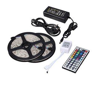 Minger Ruban LED Lumineuse 2x5M 10 Mètres(32.8 ft) 5050 SMD 150 LEDs RVB/RGB LED Bande Strip Kit d'éclairage Non Étanche, Idéal pour…