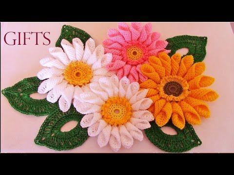 Como tejer fácil y rápido lindas flores Crisantemos - How to make crochet flowers - YouTube
